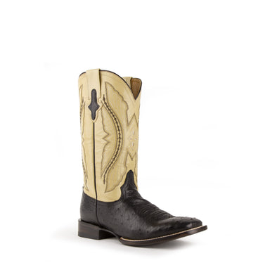 Men's Ferrini Morgan Ostrich Boots Handcrafted Black - yeehawcowboy
