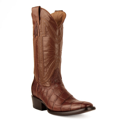 Men's Ferrini Stallion Alligator Belly Boots Handcrafted Cognac - yeehawcowboy