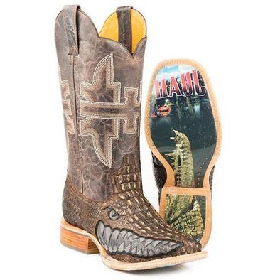 Men's Tin Haul Swamp Chomp Boots With Gator Sole Handmade - yeehawcowboy