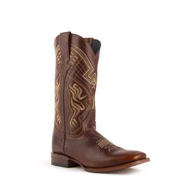 Men's Ferrini Roan Leather Boots Handcrafted Brown - yeehawcowboy