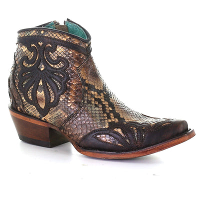 Women's Corral Python Exotic Ankle Boots Handcrafted Tan - yeehawcowboy