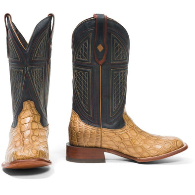 Men's Stetson Flaxville Alligator Boots Square Toe Handcrafted JBS Collection - yeehawcowboy