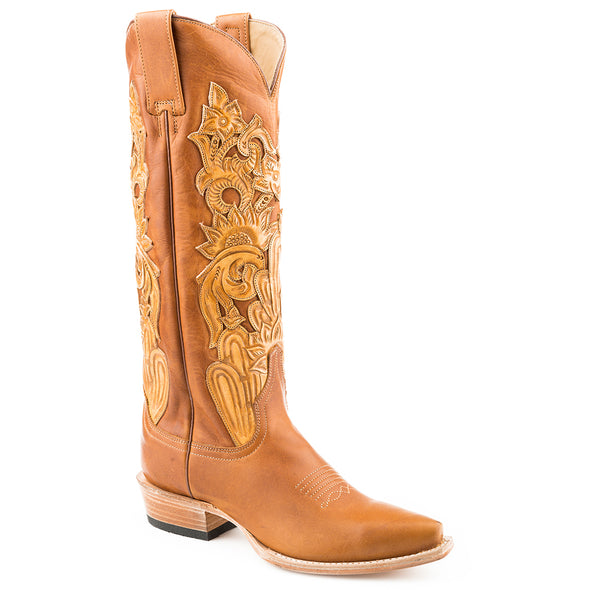 Women's Stetson Jules hand tooled Leather Boots Handcrafted - yeehawcowboy