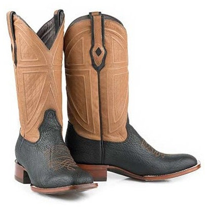 Men's Stetson Billings Sharkskin Boots Square Toe Handcrafted JBS Collection - yeehawcowboy