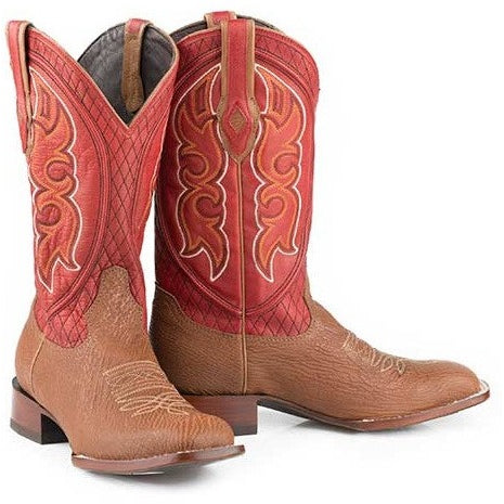 Men's Stetson Glendive Sharkskin Boots Square Toe Handcrafted JBS Collection - yeehawcowboy