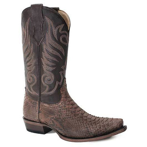 Men's Stetson Dynamite Python Boots Snip Toe Handcrafted - yeehawcowboy