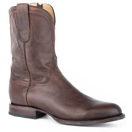 Men's Stetson Rancher Zip  Leather Boots Handcrafted Burnished Brown - yeehawcowboy