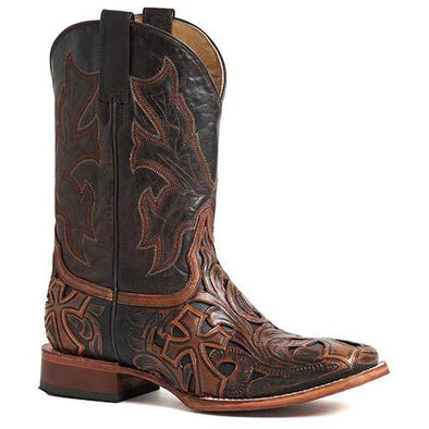 Men's Stetson Handtooled Cross Leather Boots Handcrafted - yeehawcowboy