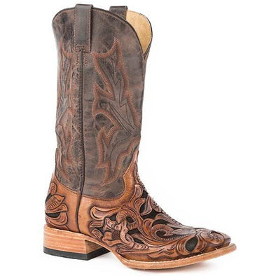 Men's Stetson Wicks Boots Hand Tooled Square Toe Handcrafted - yeehawcowboy