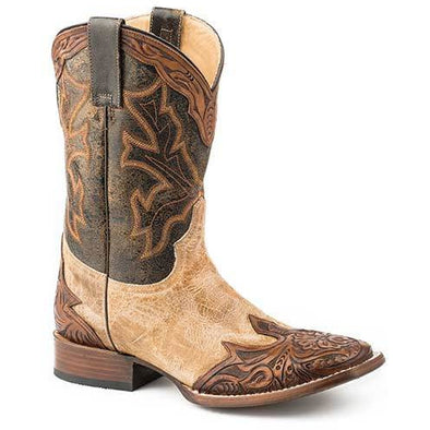 Men's Stetson Julian Hand Tooled Leather Boots Handcrafted - yeehawcowboy
