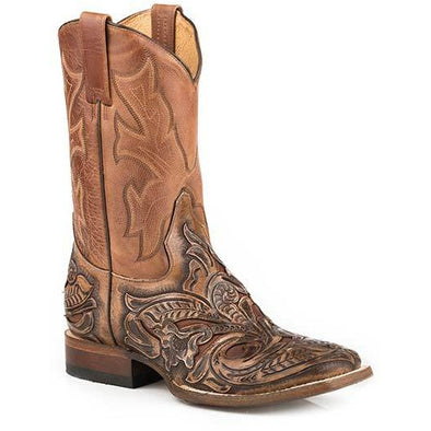 Men's Stetson Hand Tooled Wicks Leather Boots Handcrafted Brown - yeehawcowboy