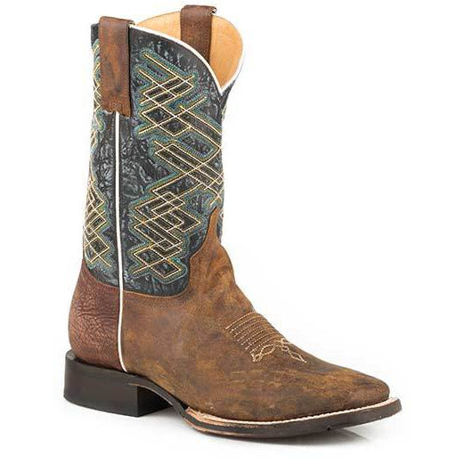 Men's Stetson Rider Tru -X Leather Boots Handcrafted Brown - yeehawcowboy