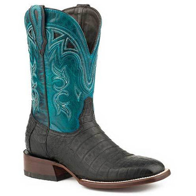 Women's Stetson Lovington Black Caiman Exotic Boots Handcrafted JBS Collection - yeehawcowboy