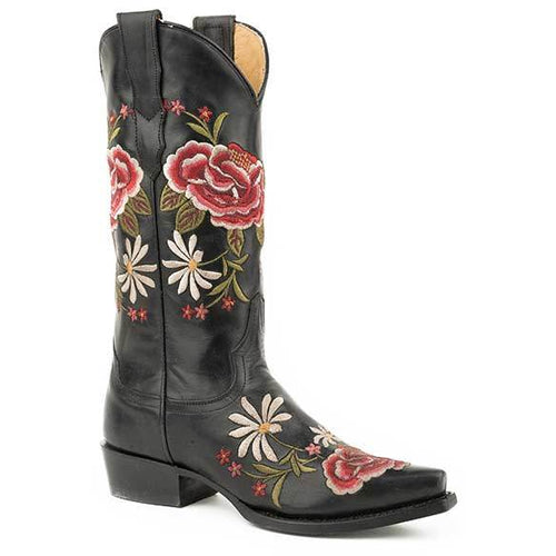 Women's Stetson Rose Leather Boots Handcrafted - yeehawcowboy