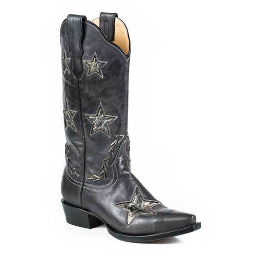Women's Stetson Star Leather Boots Handcrafted - yeehawcowboy
