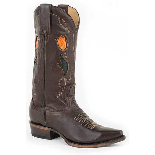 Women's Stetson Poppy Leather Boots Handcrafted - yeehawcowboy