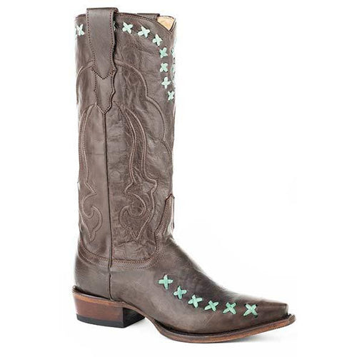 Women's Stetson Wren Leather Boots Handcrafted - yeehawcowboy