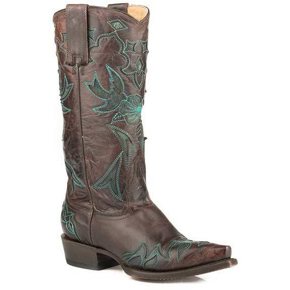 Women's Stetson Mina Leather Boots Handcrafted Brown - yeehawcowboy