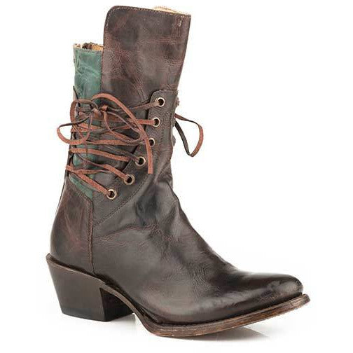 Women's Stetson Emory Leather Boots Handcrafted Brown - yeehawcowboy