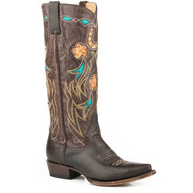 "Women's Stetson Willa 15"" Leather Boots Handcrafted Chocolate - yeehawcowboy"
