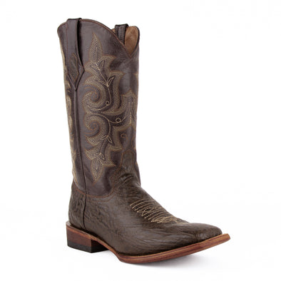 Men's Ferrini Acero Leather Boots Handcrafted Chocolate - yeehawcowboy