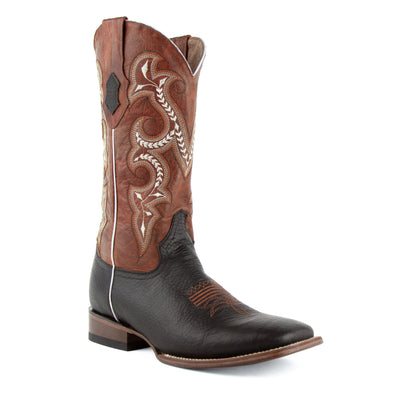 Men's Ferrini Colby Leather Boots Handcrafted Black - yeehawcowboy
