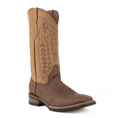 Men's Ferrini Hunter Leather Boots Handcrafted Chocolate - yeehawcowboy