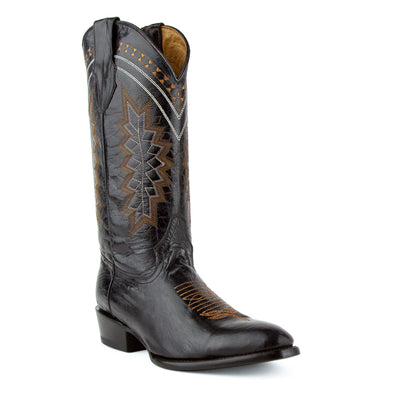 Men's Ferrini Apache Leather Boots Handcrafted Black - yeehawcowboy
