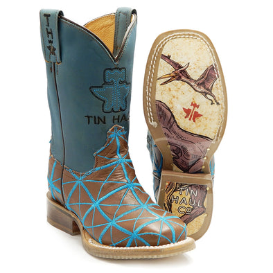 Kids Tin Haul Derrick Boots With Fossil Fuel Sole Handcrafted - yeehawcowboy