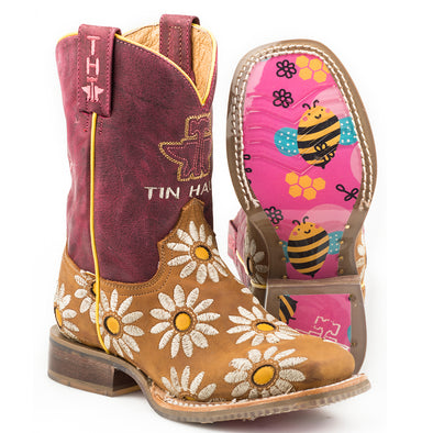 Kid's Tin Haul Lil Blossom Boots with Bumblebees Sole Handcrafted - yeehawcowboy