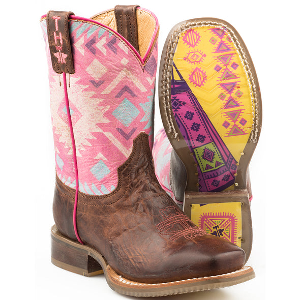 Kid's Tin Haul Pink Moon Boots With Teepee Sole Handcrafted - yeehawcowboy