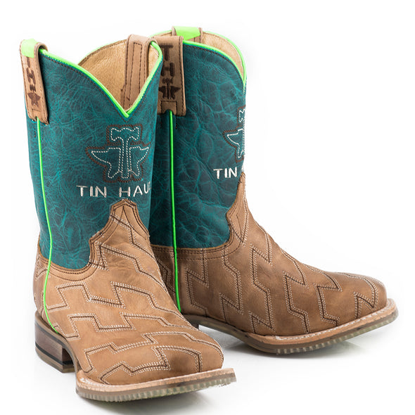 Kid's Tin Haul Horse Power Boots Handcrafted - yeehawcowboy