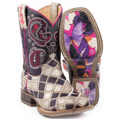 Kid's Tin Haul Sparkle Girl Boots Handcrafted - yeehawcowboy