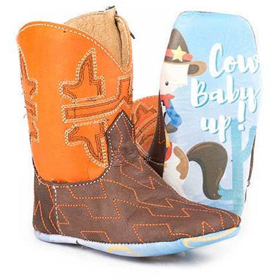 Baby Tin Haul Lil Horsepower Boots With Cowbaby Rider Sole Handcrafted Brown - yeehawcowboy