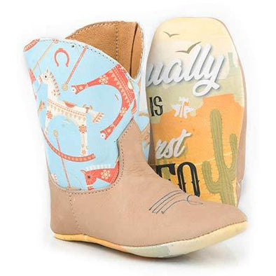 Baby Tin Haul Lil Toy Horse Boots With My First Rodeo Sole Handcrafted Tan - yeehawcowboy
