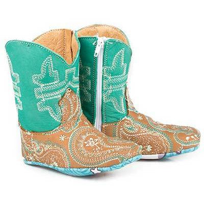 Baby Tin Haul Lil Paisley Boots With Cow & Moon Sole Handcrafted Tan - yeehawcowboy