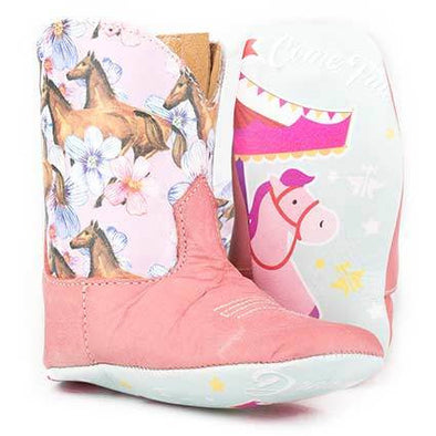 Baby Tin Haul Lil Chestnut & Daisy Boots With Carousel Sole Handcrafted Pink - yeehawcowboy
