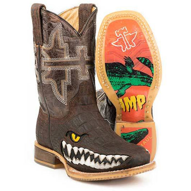 Kid's Tin Haul Swamp Chomp Boots Handcrafted - yeehawcowboy