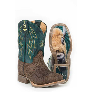 Kid's Tin Haul Bullhide Boots With Buffalo Sole Handcrafted - yeehawcowboy