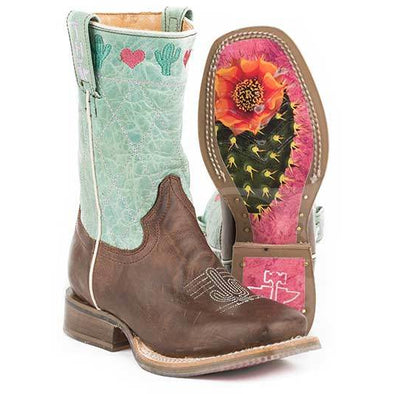 Kid's Tin Haul I <3 Cactus Boots With Heartshaped Sole Handcrafted - yeehawcowboy