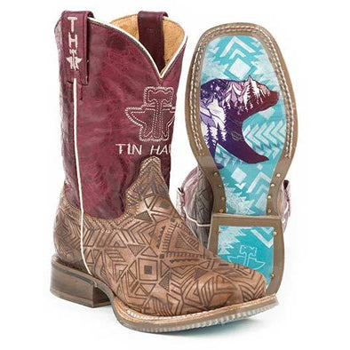Kid's Tin Haul Free Spirit Boots With Native Bear Sole Handcrafted - yeehawcowboy