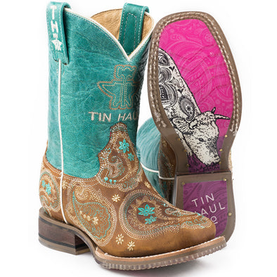 Kid's Tin Haul Pretty Paisley Boots Handcrafted - yeehawcowboy