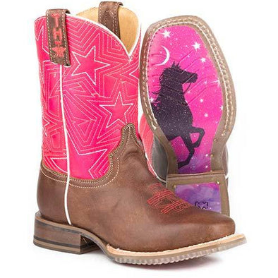 Kid's Tin Haul Puffy Stars Boots with Reach For The Stars Sole Handcrafted Tan - yeehawcowboy