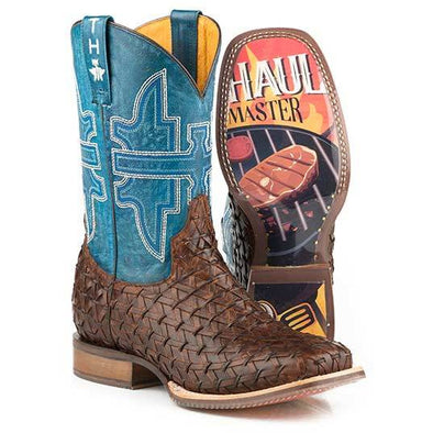 Men's Tin Haul Grill Master Boots With BBQ Sole Handcrafted Brown - yeehawcowboy