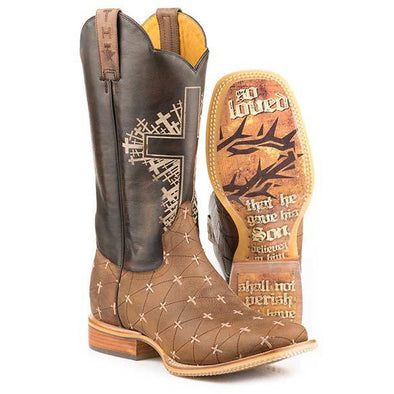 Men's Tin Haul The Gospel Boots With John 3:16 Sole Handcrafted Brown - yeehawcowboy