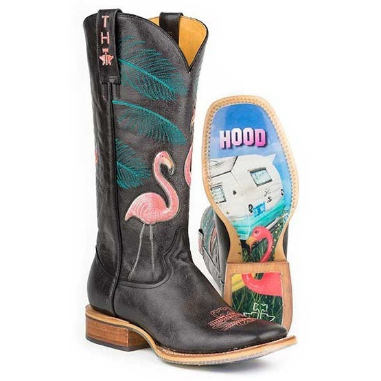 Women's Tin Haul Flamingo With Boots With Trailerhood Sole Handmade - yeehawcowboy