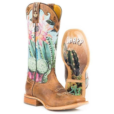 Women's Tin Haul Cactilicious Boots With Looking Sharp Sole Handmade - yeehawcowboy