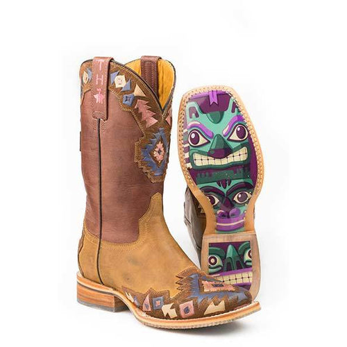 Women's Tin Haul One Tribe Boots With Totem Sole Handcrafted - yeehawcowboy