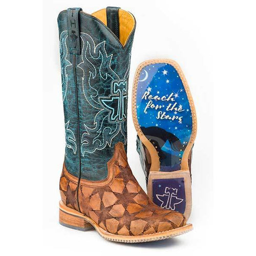 Women's Tin Haul Wish Upon A Star Boots With Dream Rider Sole Handcrafted - yeehawcowboy