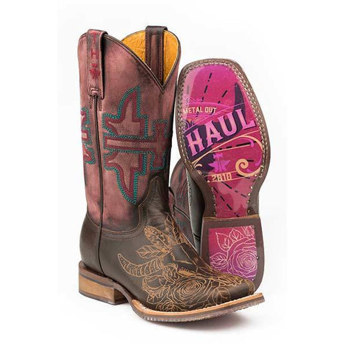 Women's Tin Haul Bullheaded Boots With Rose Poster Sole Handcrafted - yeehawcowboy
